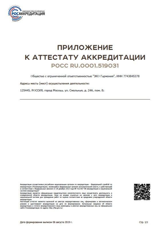 Аттестат СОУТ приложение